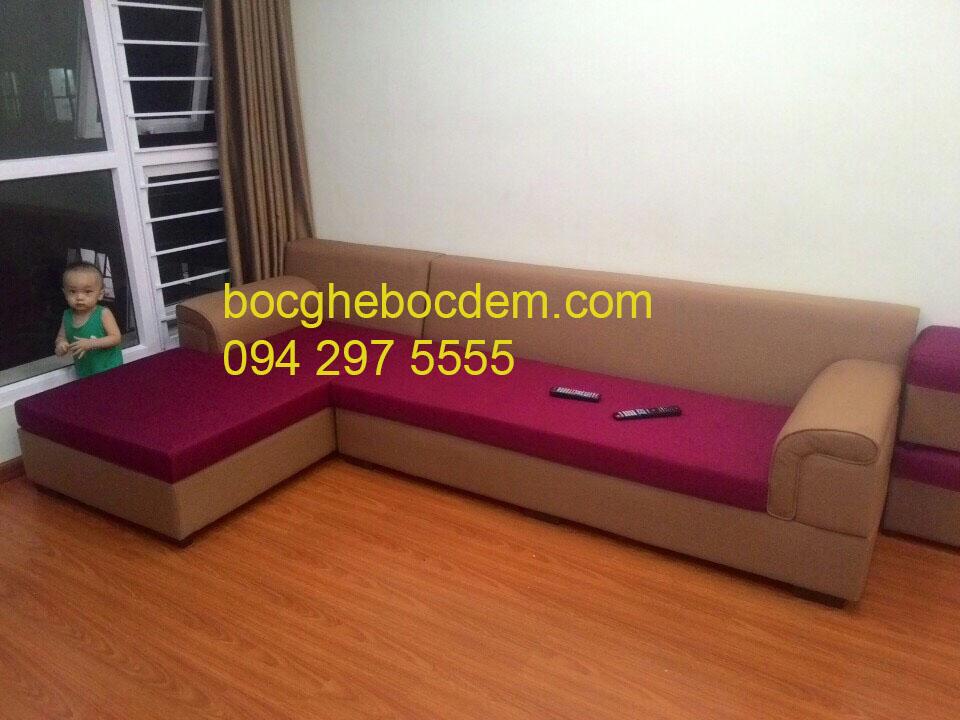 Bọc ghế sofa góc chất liệu nỉ