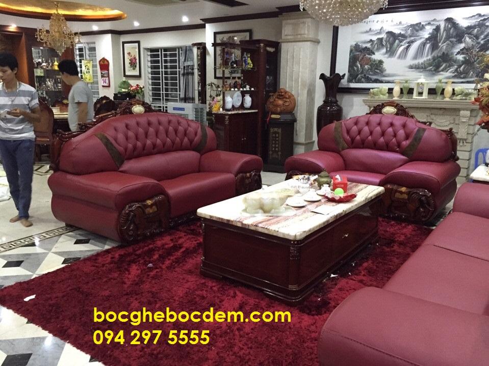 Bọc ghế sofa da màu tím sang trọng