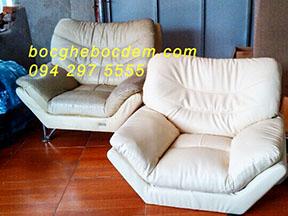 Bọc Ghế Sofa Đơn Hư Hại Nghiêm Trọng Cho Nhà Chị Vân Tại Xưởng