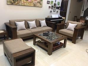 Làm đệm ghế gỗ đẹp nhà chị Hạnh quận Hoàn Kiếm