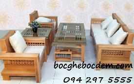 Làm đệm ghế gỗ đẹp nhà Chị Trang quận Từ Liêm