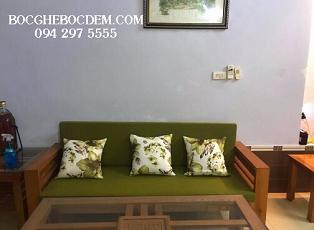 Làm đệm ghế gỗ với hoa văn xanh tươi mát - Đệm ghế đẹp Hà Nội