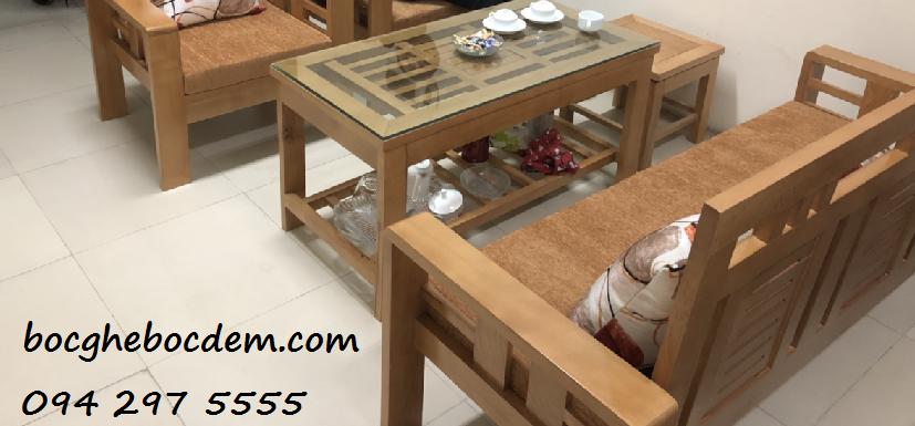 Làm đệm ghế sofa gỗ nhà chị Minh quận Thanh Xuân