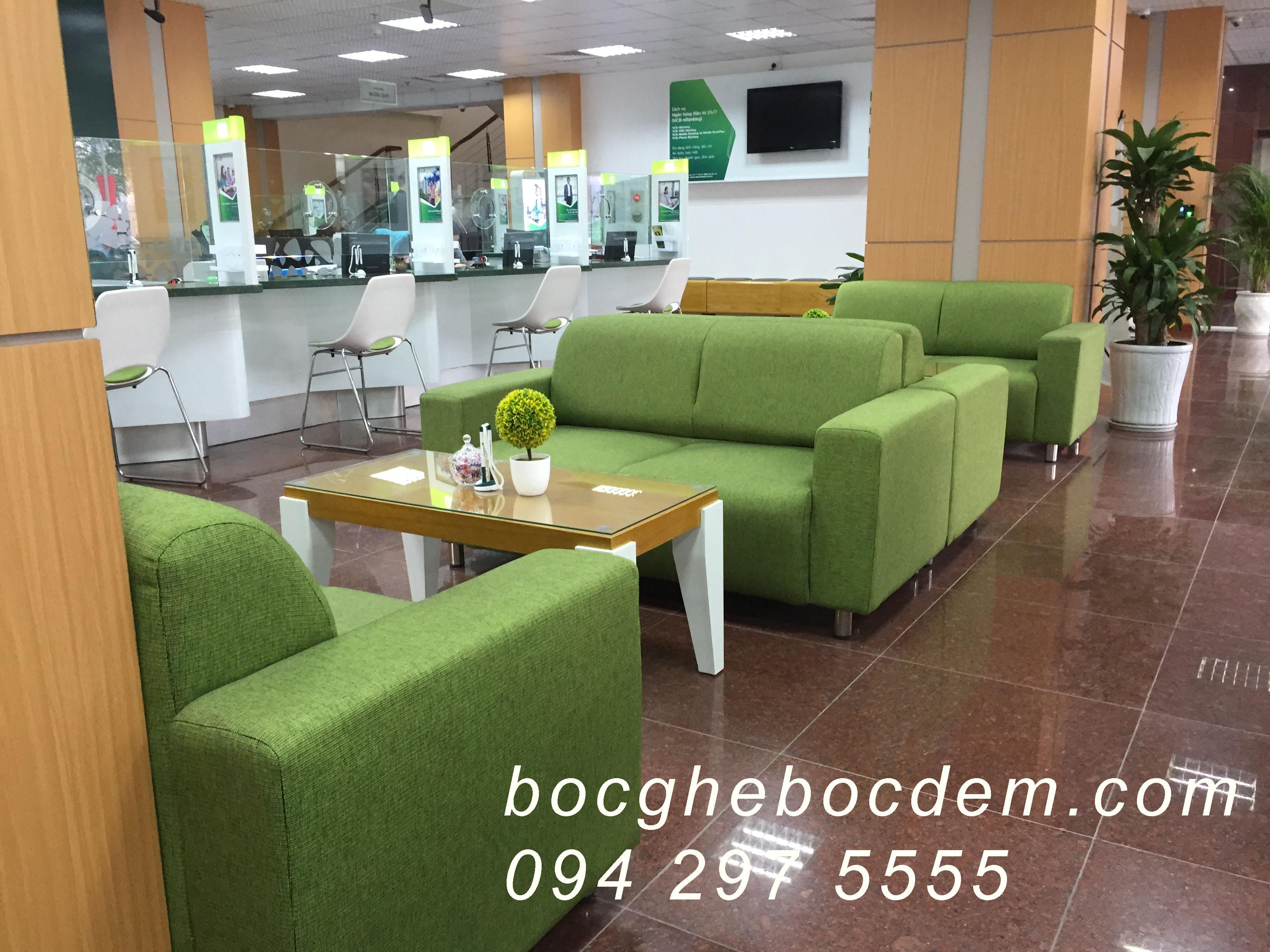Bọc ghế sofa nỉ ngân hàng vietcombank chi nhánh hà tây -lê văn lương