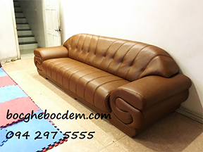 Bọc ghế sofa da đẹp nhà Chị Liễu quận Hoàng Mai