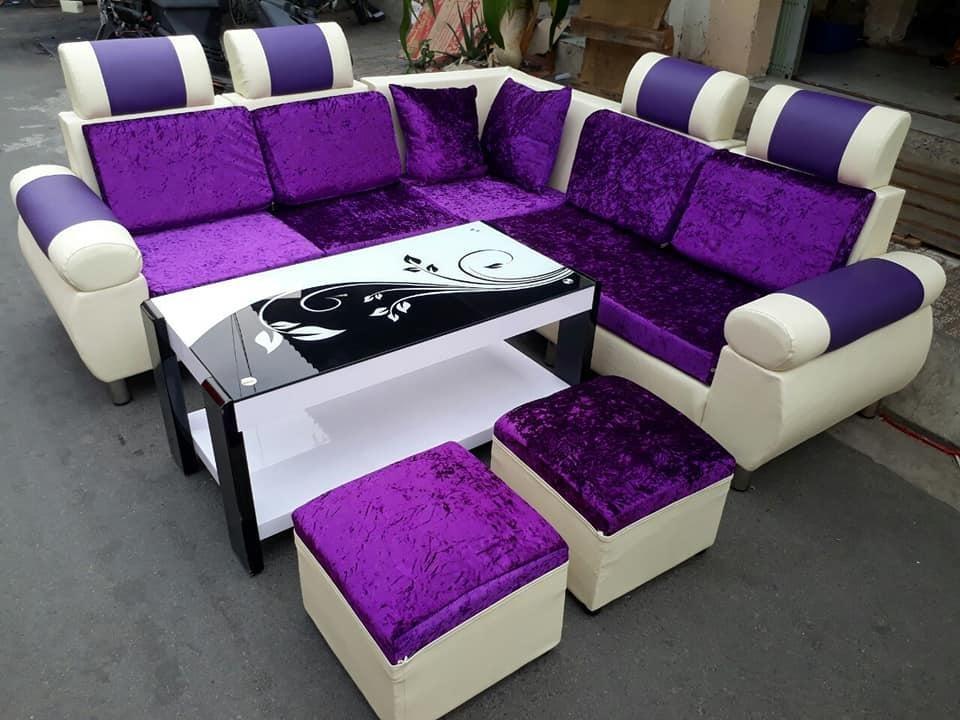 Bọc ghế sofa góc chuẩn màu tím và đậm phong cách Châu Âu