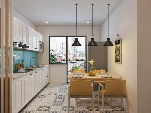 Kết hợp của bàn ghế ăn với không gian nhà bếp