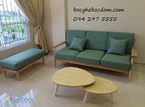 Làm đệm ghế gỗ đẹp màu xanh