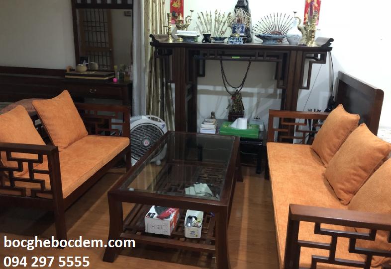 Làm đệm ghế gỗ nhà chị Hồng quận Từ Liêm
