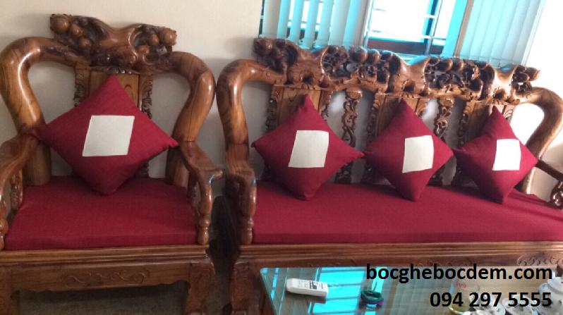 Làm đệm ghế gỗ nhà chị Kim quận Tây Hồ