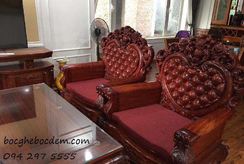 Làm đệm ghế gỗ nhà chị Mai quận Hoàn Kiếm