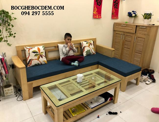 Làm đệm sofa gỗ đẹp tại nhà chị Minh, Đông Anh, Hà Nội