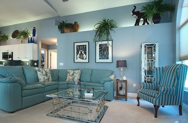 Mang lại vẻ đẹp nhẹ nhàng cho phòng khách với sofa màu xanh bạc hà