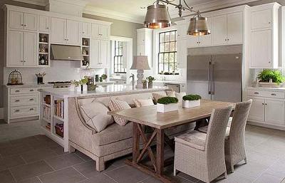Thiết kế phòng bếp sang chảnh với nội thất sofa hiện đại