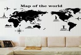 Trang trí tường nhà độc đáo với họa tiết bản đồ thế giới